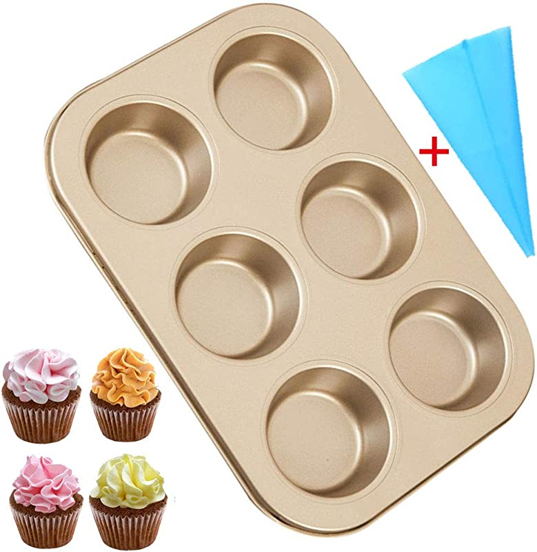 Carbon Steel Cupcake Baking Tray Nonstick Cannele Pan Easy Clean Cake Pan Baking Molds For Muffin Cookies Donut Kitchen Bakeware For Birthday Party Christmas Bonus Silicone Pastry Bag Round 1