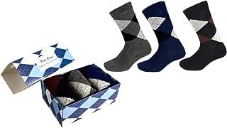 Peach Couture Mens Classic Fun Cotton Crew Argyle Pattern 3 Pack Socks per Box
