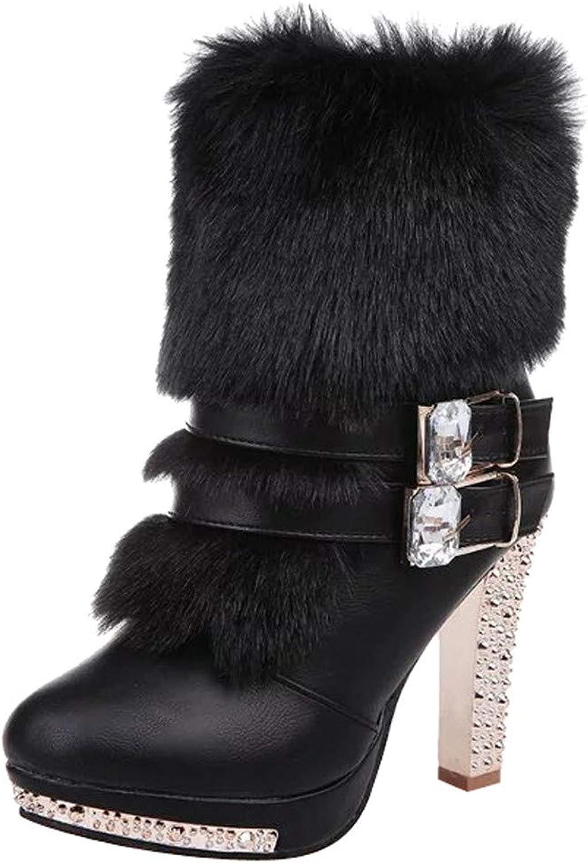 JESPER Women Rhinestone Leather Faux Fur Ankle Boots Cone Jeweled Heel Platform Zipper shoes