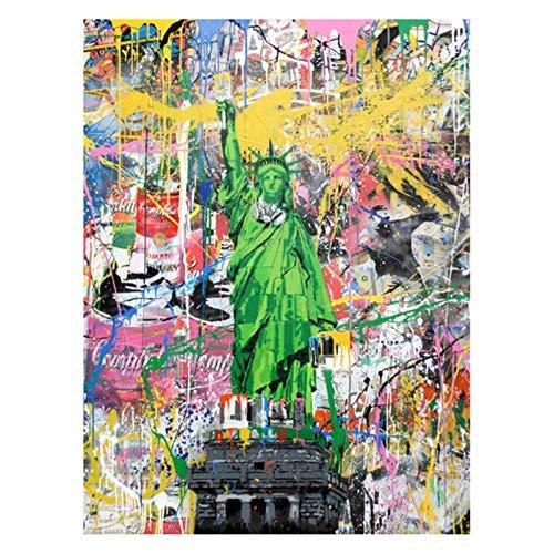 Impresión De La Lona Y El Cartel, Estatua De La Libertad Del Arte Graffiti En La Pared Del Arte Pintura Lona Arte Calle De La Estatua De Cuadros Para La Decoración Casera, Sin Marco,40×60cm