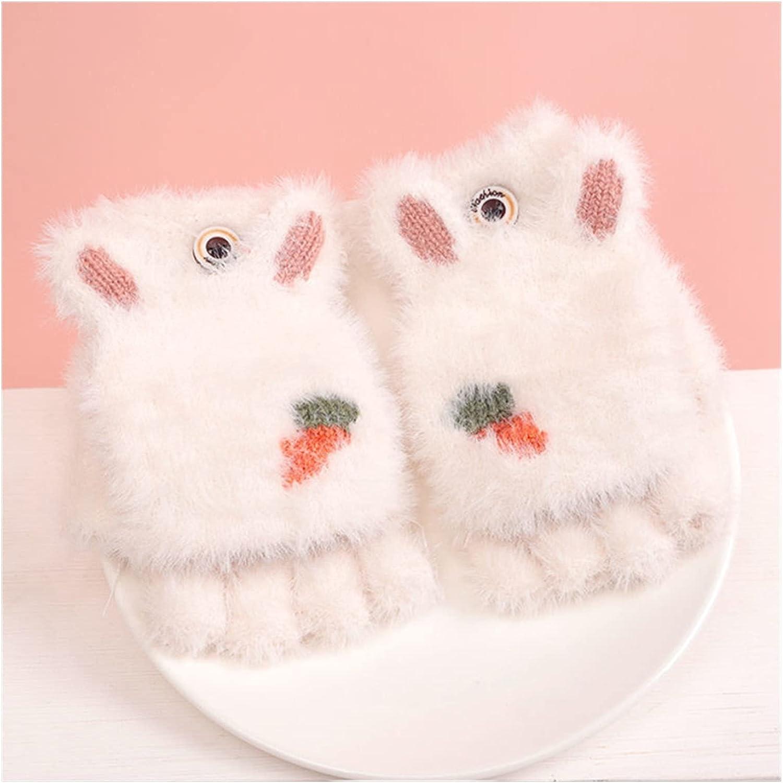 JSJJAWS Winter Gloves Knitted Fingerless Gloves for Girls Cartoon Baby Mittens Warm Children Winter Half Finger Gloves Baby Accessories (Color : White)