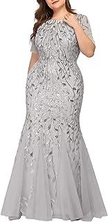 Ever-Pretty Vestitio da Cerimonia Donna Girocollo Sirena Tulle Paillettes Maniche Corte 07707PL