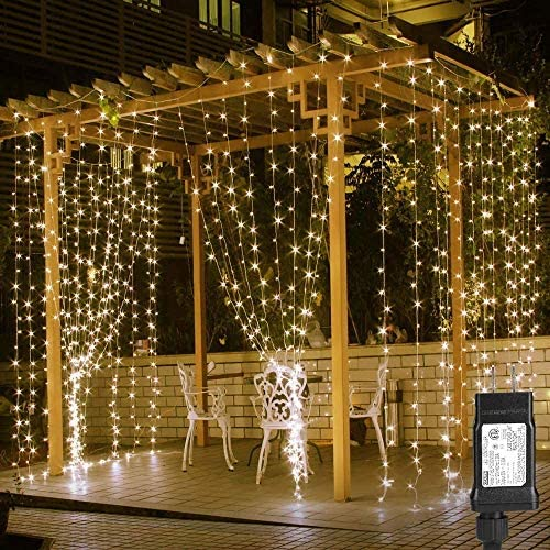 LE 306 LED Curtain Lights for Bedroom Wall Window Hanging Fairy String Lights for Wedding Backdrop Patio Birthday Party, Plug in Indoor Outdoor Decorative Dangling Vertical Twinkle Lights (10x10 ft)