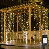 LE 306 LED Curtain Lights for Bedroom Wall Window Hanging Fairy String Lights for Wedding Backdrop Patio Party Valentine Proposal, Plug in Indoor Outdoor Decorative Dangling Twinkle Lights (10x10 ft)