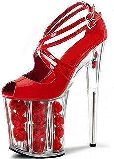 Women PeepToe Platform Sandals,Cross Strap StilettoHeel,Super High Heel Large Size Summer Party Roman Shoes for Wedding (35-46)