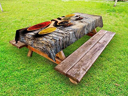 ABAKUHAUS Kruid Tafelkleed voor Buitengebruik, Kleurrijk en Oosterse smaken, Decoratief Wasbaar Tafelkleed voor Picknicktafel, 58 x 84 cm, Veelkleurig