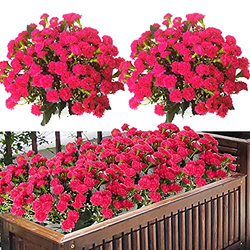QIAN YUN 4 flores artificiales para exteriores, resistentes a los rayos UV,...