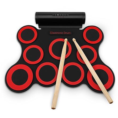 Bateria Electronica Niños Drum Kit Tambor Electrónico,Enrolle Drum Pad Electrónico Portátil Kit Silicio Plegable