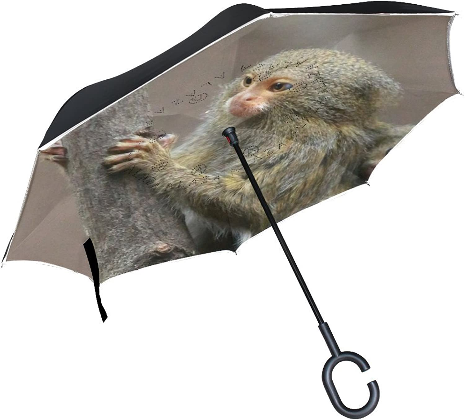 Animal Monkey Pygmy Marmoset Adorable Little Pet Cute Wild Simple Ingreened Umbrella Large Double Layer Outdoor Rain Sun Car Reversible Umbrella