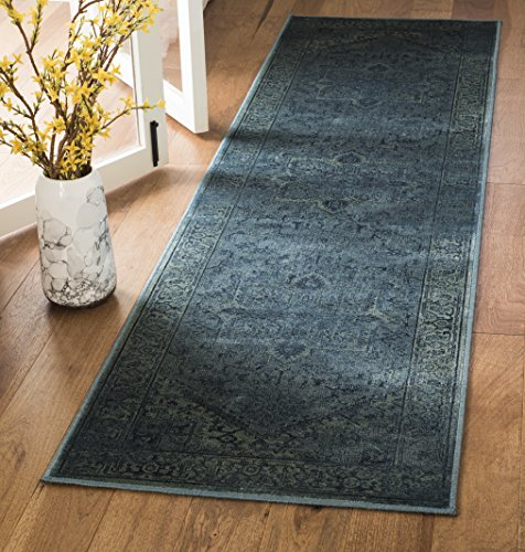 Safavieh Maxime Inspired Vintage Inspirierter Teppich, VTG114, Gewebter Viskose Läufer, Türkis Blau, 67 X 240 cm