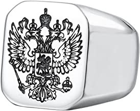 SINLEO Men's Stainless Steel Vintage Knight Russian Double Eagle Signet Ring Square High Polished