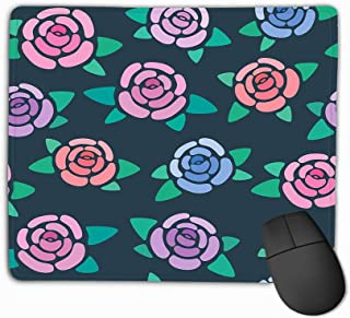 Mousepad Custom Design Gaming Mouse Pad Rubber Oblong Mouse Mat 11.81 X 9.84 Inch Seamless Pattern Roses Dark Background Nice Simple Stylized Flowers Wallpaper Bright