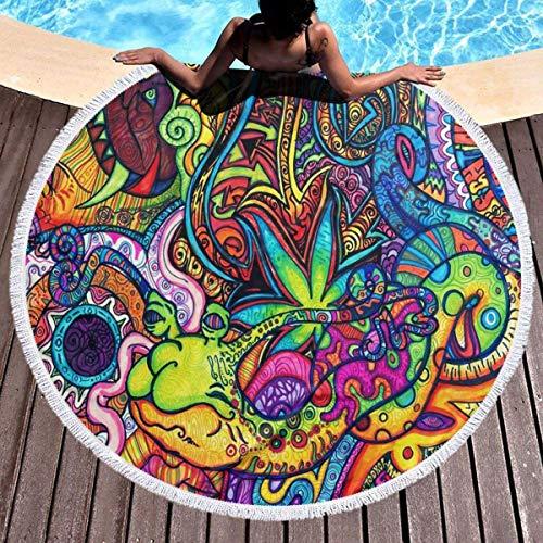 Mysterious Art Toalla de playa Tapiz de playa redondo con borlas Manta de playa a prueba de arena Toalla de esterilla de yoga 59 pulgadas