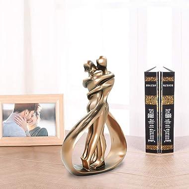 DreamsEden Affectionate Couple Art Resin Sculpture, Passionate Embrace & Kiss Statue Abstract Romantic Ornament Figurine