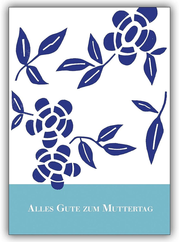 16 Muttertagskarten Muttertagskarten Muttertagskarten (16er Set)  Denken Sie an den Muttertag mit diesen schönen, blaue Linolschnitt Blaumen B00VRS0J5A | Modern Und Elegant  8102f3