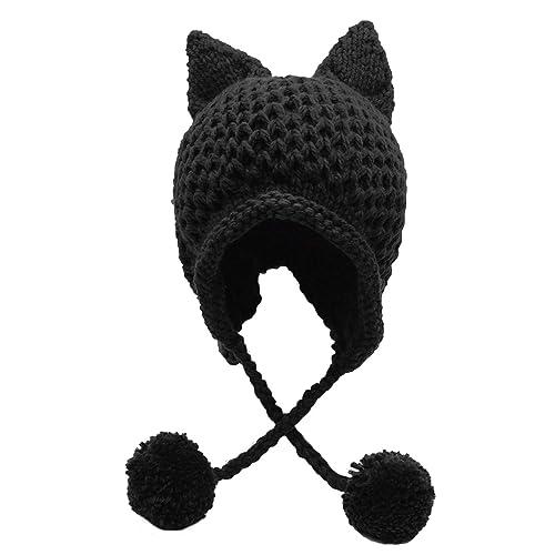 Bellady Winter Cute Cat Ears Knit Hat Ear Flap Crochet Beanie Hat 6985ecf6c643