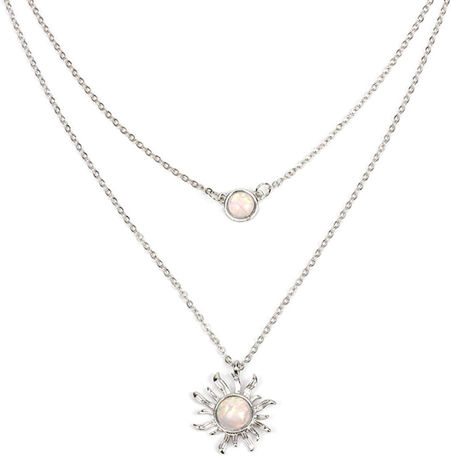 HUNO Double Chains Moon and Sun Layered Choker Necklace Sunflower Opal Pendant Necklace Gift for Women