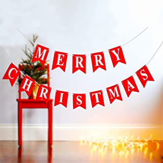 Merry Christmas Banner - 14 PCS 16ft Rustic Christmas Banners (3D Letters) - Non - Woven Fabric Banner - Rustic Christmas Garland with A 5 Meters White Ribbon