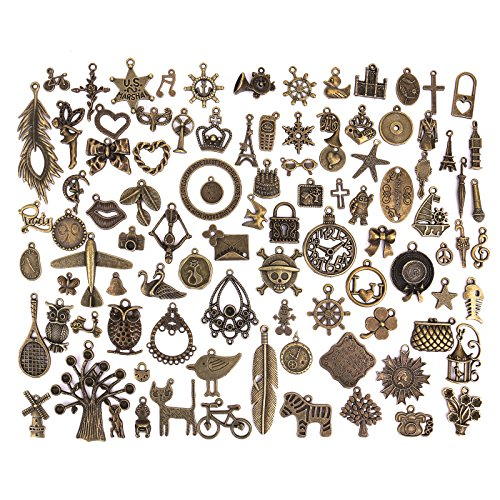Pasutewel 96pcs Antique Bronze Vintage Charms Set DIY Handmade Accessories Necklace Pendants Jewelry Making Supplies for Wedding Decoration and Birthday Party