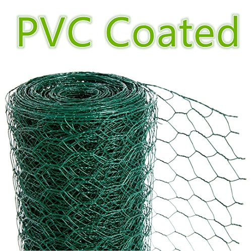 CrazyGadget Chicken Wire Mesh Rabbit Animal Fence Green PVC Coated Steel Metal Garden Netting Fencing 25m (1.2m x 25m) - Hole Size: 25mm