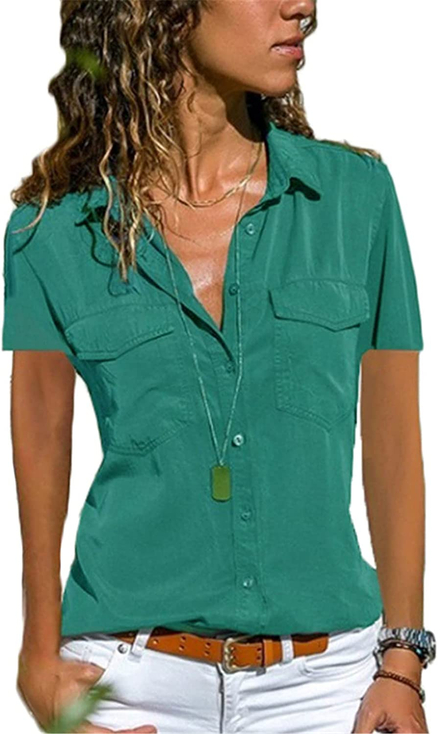 Andongnywell Women's Solid Color Short Sleeve T Shirt Casual V Neck Cuffed Sleeve Button Down Blouses Top with Pocket