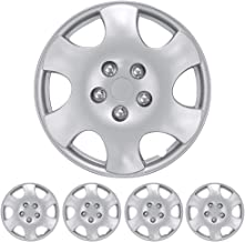 """BDK Wheel Guards – (4 Pack) Hubcaps for Car Accessories Wheel Covers Snap Clip-On Auto Tire Rim Replacement for 15 inch Wheels 15"""" Hub Caps (8 Spokes 4 Lugs)"""