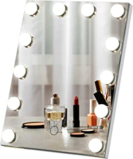 LUXFURNI Hollywood Tabletop Makeup Mirror with USB-Powered Dimmable Light Touch Control