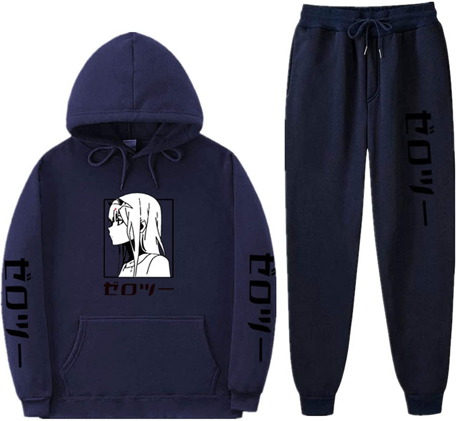 Anime 02 Hoodie and Sweatpants 2 Piece Set Cosplay Costume Zero Two Sportswear for Men Women Teens Darling in The Franxx Tracksuit Set