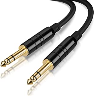 """CableCreation 10 Feet 6.35mm 1/4"""" TRS to 6.35mm 1/4"""" TRS Balanced Stereo Audio Cable, Male to Male, 3 Meters/Black"""