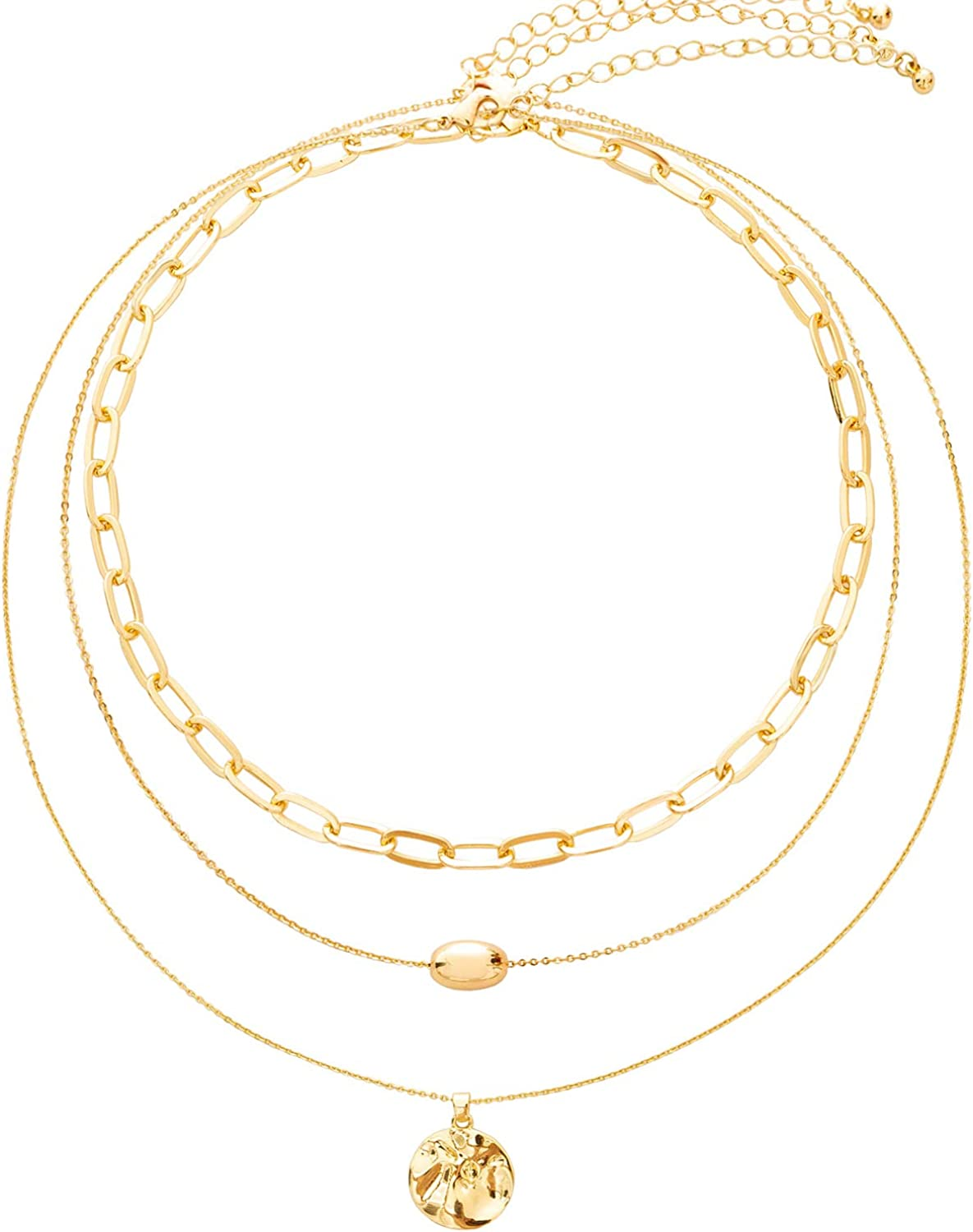 BaubleStar Link Layered Necklace Gold Layering Paperclip Chain Choker for Women