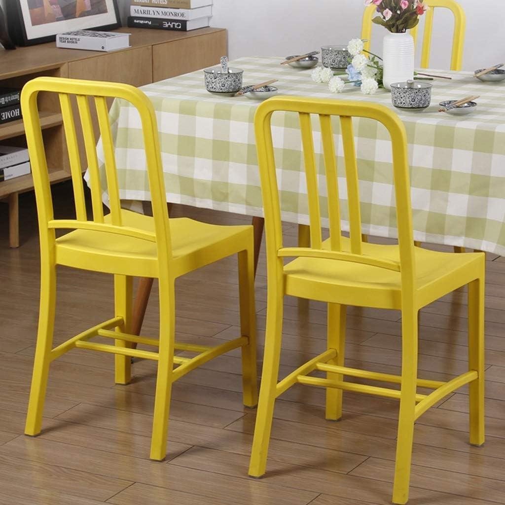 KTDT Chaise Chaise D'ordinateur en Plastique Chaise De Dossier en Fer Forgé Chaise De Bureau Design Tabouret Haut Table À Manger Créative Et Chaise (Couleur: Noir) Yellow