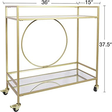 Large Gold Rolling Bar Cart with 2 Mirrored Shelves,, Wine Drink Trolley Cart with Lockable Wheels, Suitable for Kitchen, Clu