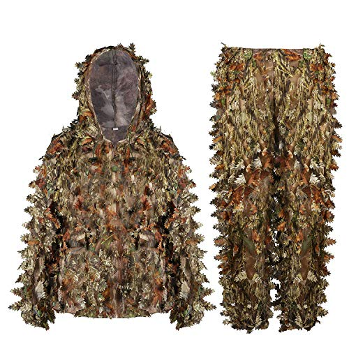 EAmber Ghillie Suit 3D Leaf Camo Youth Adult Lightweight Clothing Suits for Jungle Hunting,Shooting, Airsoft, Wildlife Photography or Halloween (Woodland Forest, Height 3.95-4.75 Ft)