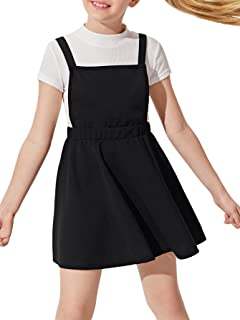 Romwe Girl's Overall Dresses Criss Cross Back A Line Flared Pinafore Dress
