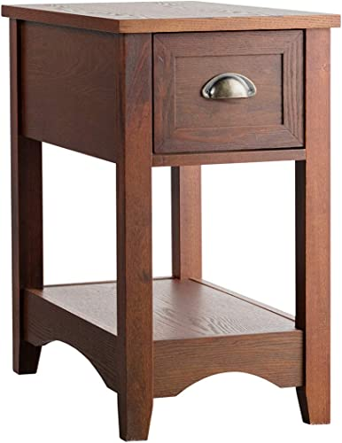 lowest Giantex Chair Side End Table with online Drawer, outlet sale Retro Narrow Tiered Side Table, Compact Nightstand with Storing Shelf, End Table for Living Room Bedroom Home & Office (1, Walnut) outlet online sale