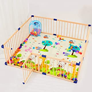 L TSA Safety Gates Baby Playpen Wood Frame with Locked Door  Indoor Outdoor Kids Activity Center  Balls Crawling Mat Basket Included