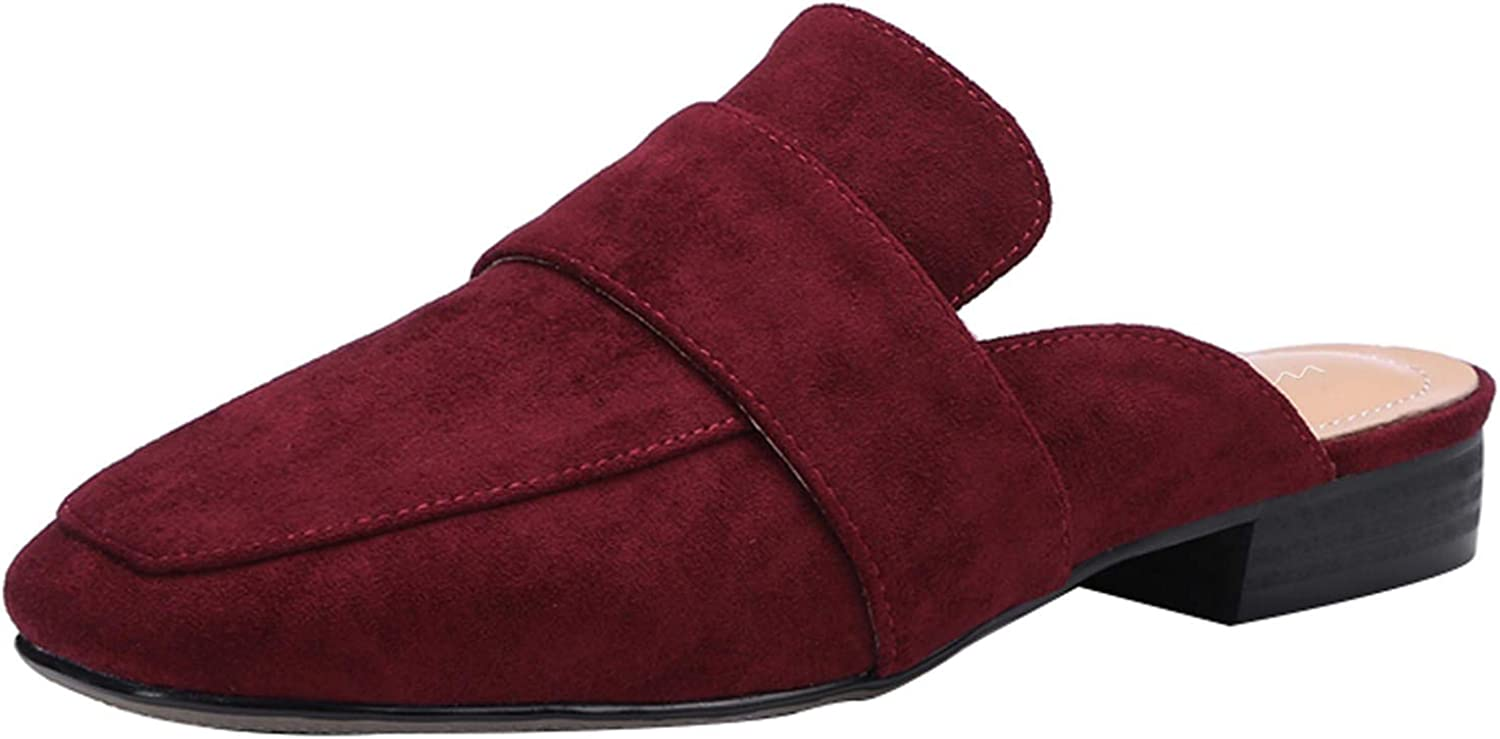 HEETIST Women's Hattractive Round Toe Backless Mules Slip On Loafers Walking Flats shoes
