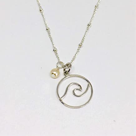 9e41226a8 Ocean Wave Necklace Sterling Silver with Swarovski Birthstone Crystal or  Pearl