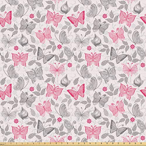 Ambesonne Butterfly Fabric by The Yard, Sketch Style Animals Leaves Abstract Nature Depiction Romantic Swirls Lines, Stretch Knit Fabric for Clothing Sewing and Arts Crafts, 2 Yards, Grey Pink