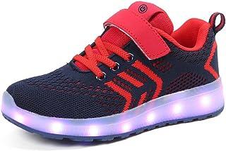 62c6d97059691 Moquite Enfant Chaussure Baskets de Mode Lumineuse pour Garcon Fille -7  Couleurs LED Lumière -