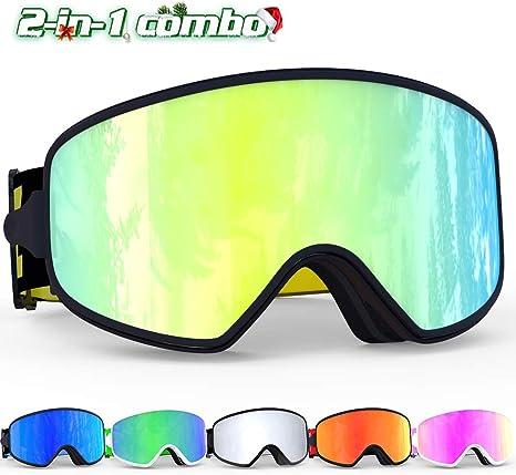 COPOZZ Ski Goggles, 2 in 1 Magnetic Lens Anti-fog UV400 Snow Snowboard Goggle