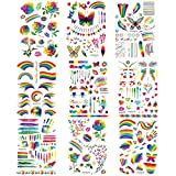 Akabsh 9 Sheets Rainbow Tattoos Rainbow Stickers Temporary Waterproof Tattoos for Pride Parades and...