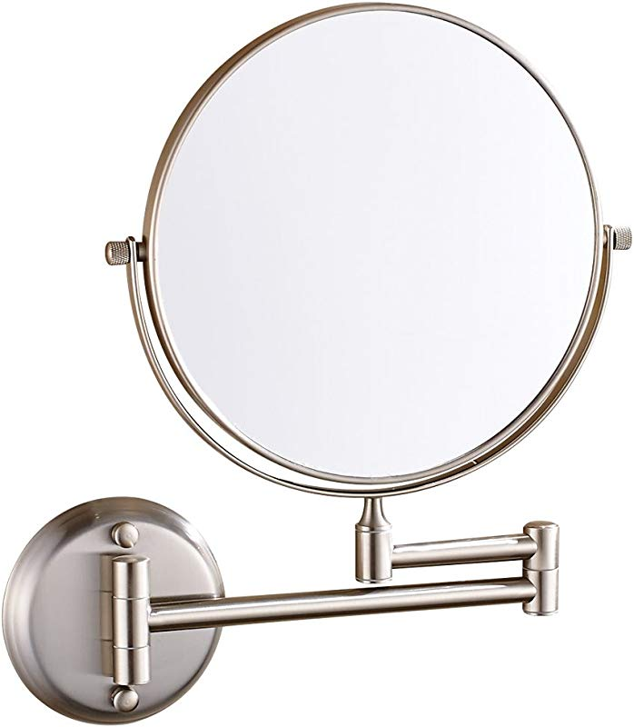 GuRun Vanity Mirror Wall Mount With 10x Magnification Brush Nickel Two Sided 8 Inch M1306N 8 Inches 10x