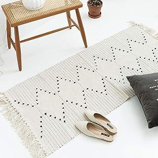 Hi-home Tapis de chambre à coucher, en coton tissé avec pompons pour salon, couloir, cuisine, buanderie, tapis de sol doux...