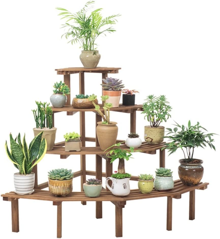 Milwaukee Mall 4 Tier Max 40% OFF Ladder Flower Stand,Garden Shelves Wooden Plant Display