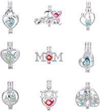 Mixed 9pcs Mother Heart Silver Pearl Cage Beads Cage Locket Pendants DIY Necklace Bracelet Jewelry Making Supplies-for Oyster Pearls, Essential Oil Diffuser, Fun Gifts (Mother's Day)