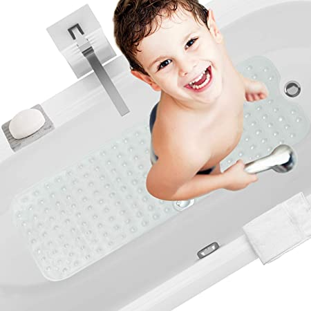 HBselect Alfombra Antideslizante Alfombrillas para Bañera 100 x 40 Cm Alfombrilla Baño Lavable a Máquina Alfombrillas Infantiles para Bañera (Color Transparente)