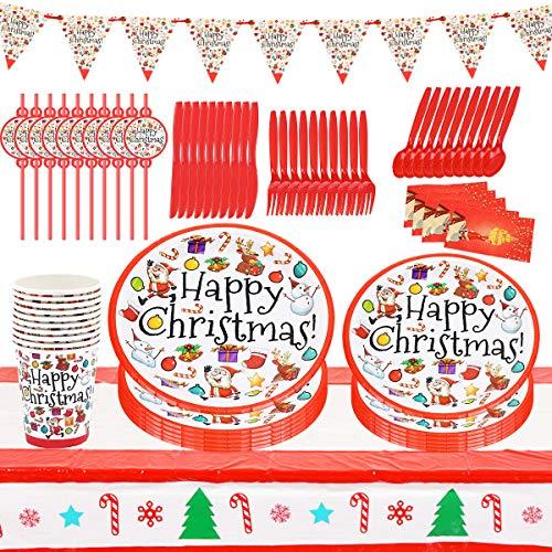 Vajilla para Fiesta de Navidad Set de Fiesta de Navidad Incluye Mantel, Platos de Papel, Servilletas para Año Nuevo Fiesta de Navidad Vajilla de Papel Decoracion