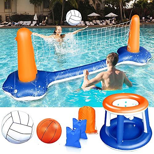 UFLIZOGH Juego Hinchable Vóley Flotante, Juguete Flotador Piscina Red de Voleibol y Aros de Baloncesto para Niños y Adultos