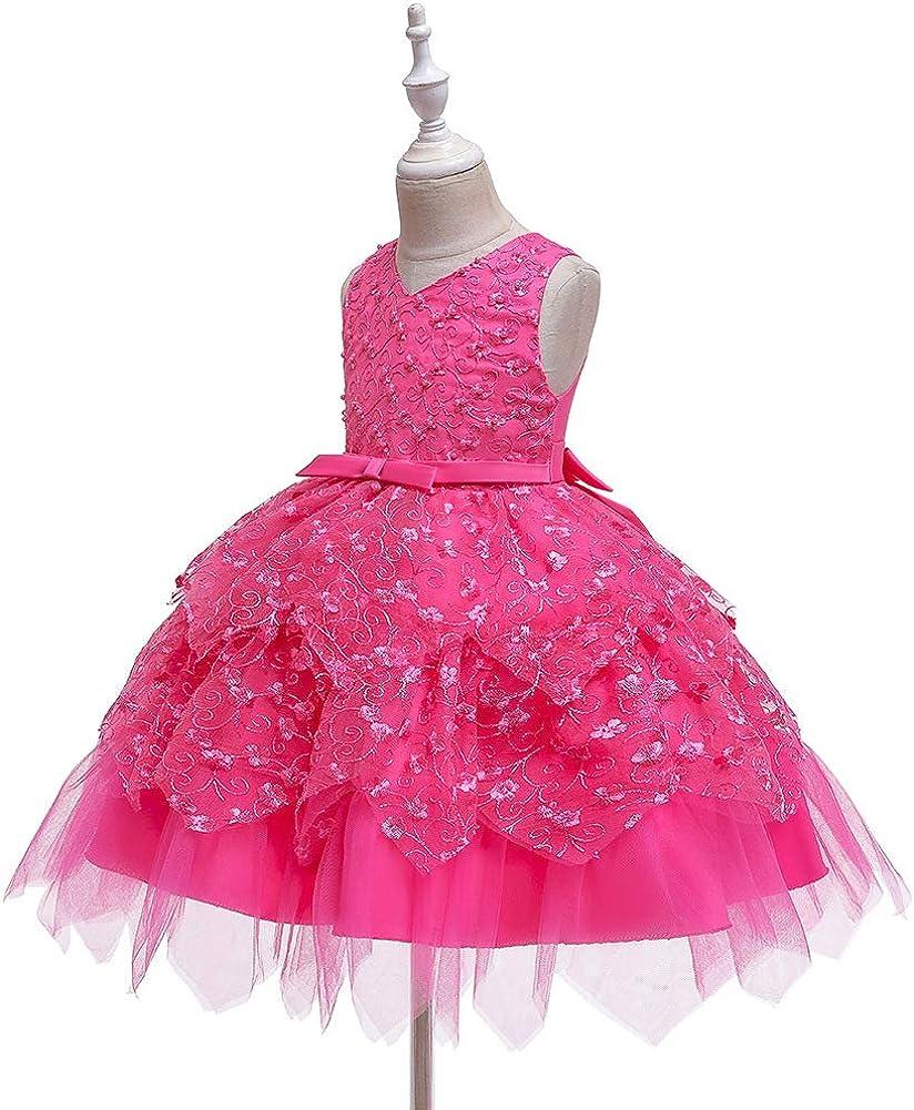 COMISARA 6M-4T Toddler Baby Girls Flower Dress Formal Pagenat Party Tutu Gown Dresses